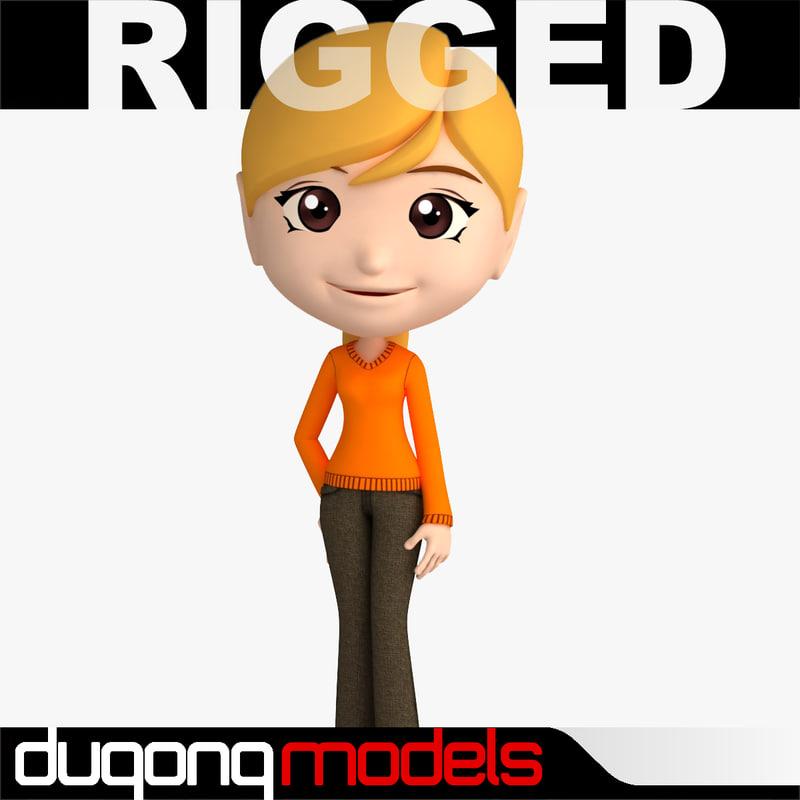 max dugm06 rigged cartoon woman