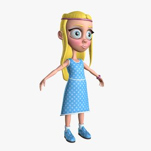 viktoria little cartoon girl 3d model