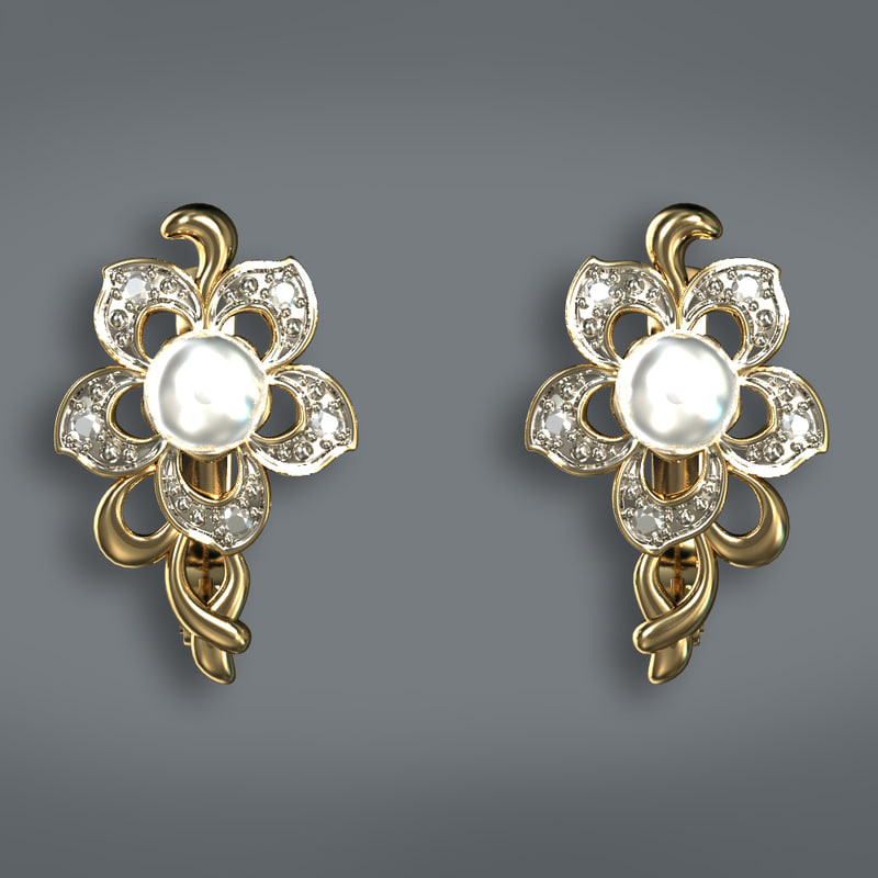 earrings pearls 3d max