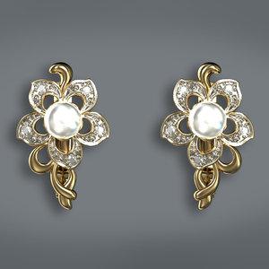 earrings pearls 3d max