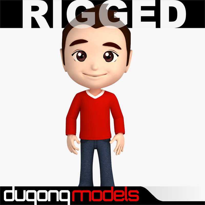 3d dugm06 rigged cartoon man