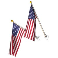 wall flags set pole c4d