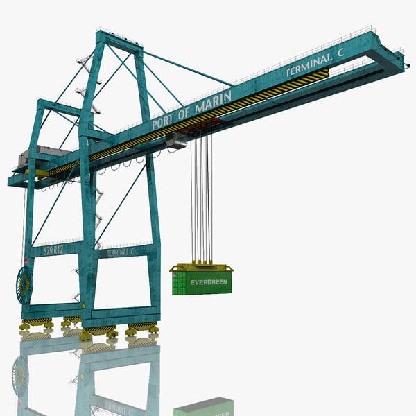 harbor container crane 3d obj