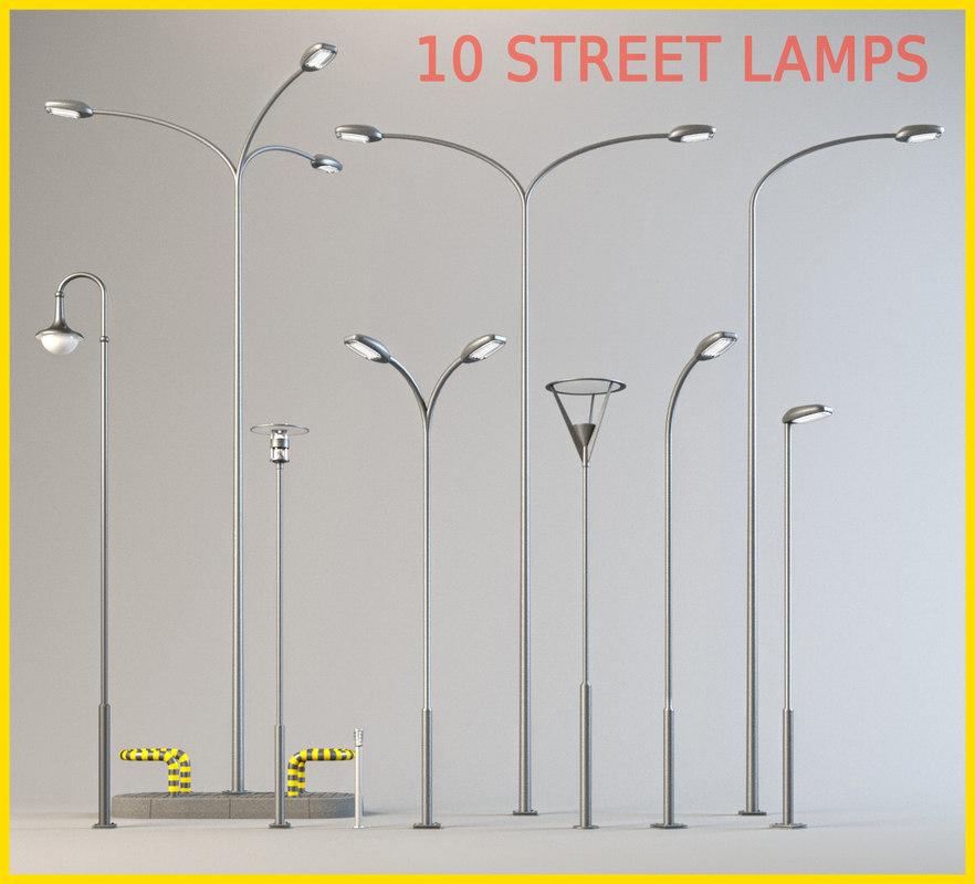 3d street lamps