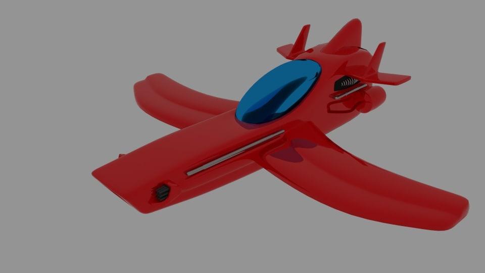 3d red spaceship model