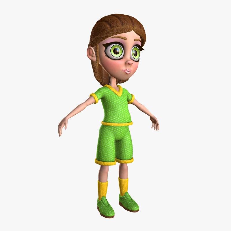 3d model alinka little cartoon girl