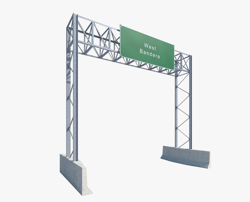 3d model highway sign