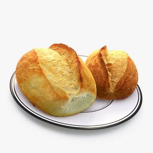 3d bun bread model