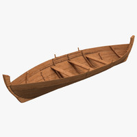 3d rowboat modeled model