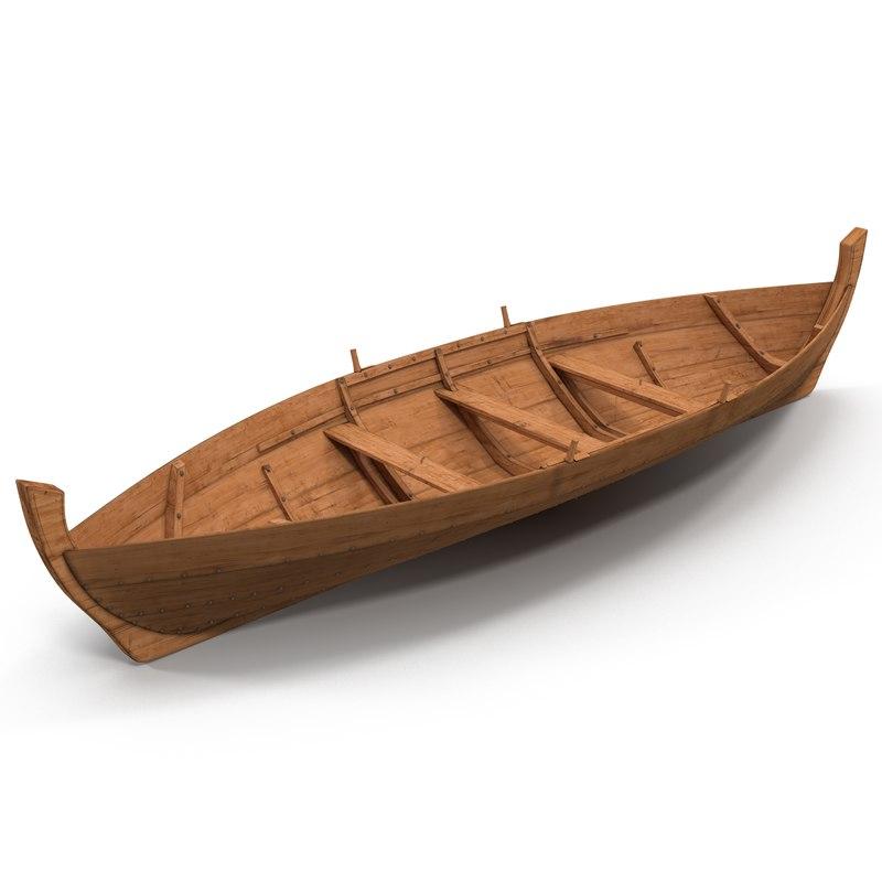 3d rowboat modeled model