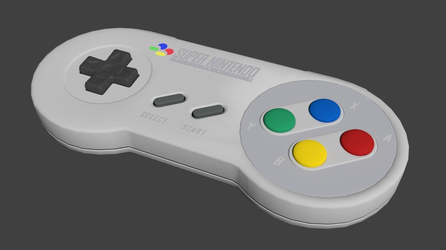 japan snes controller 3d blend