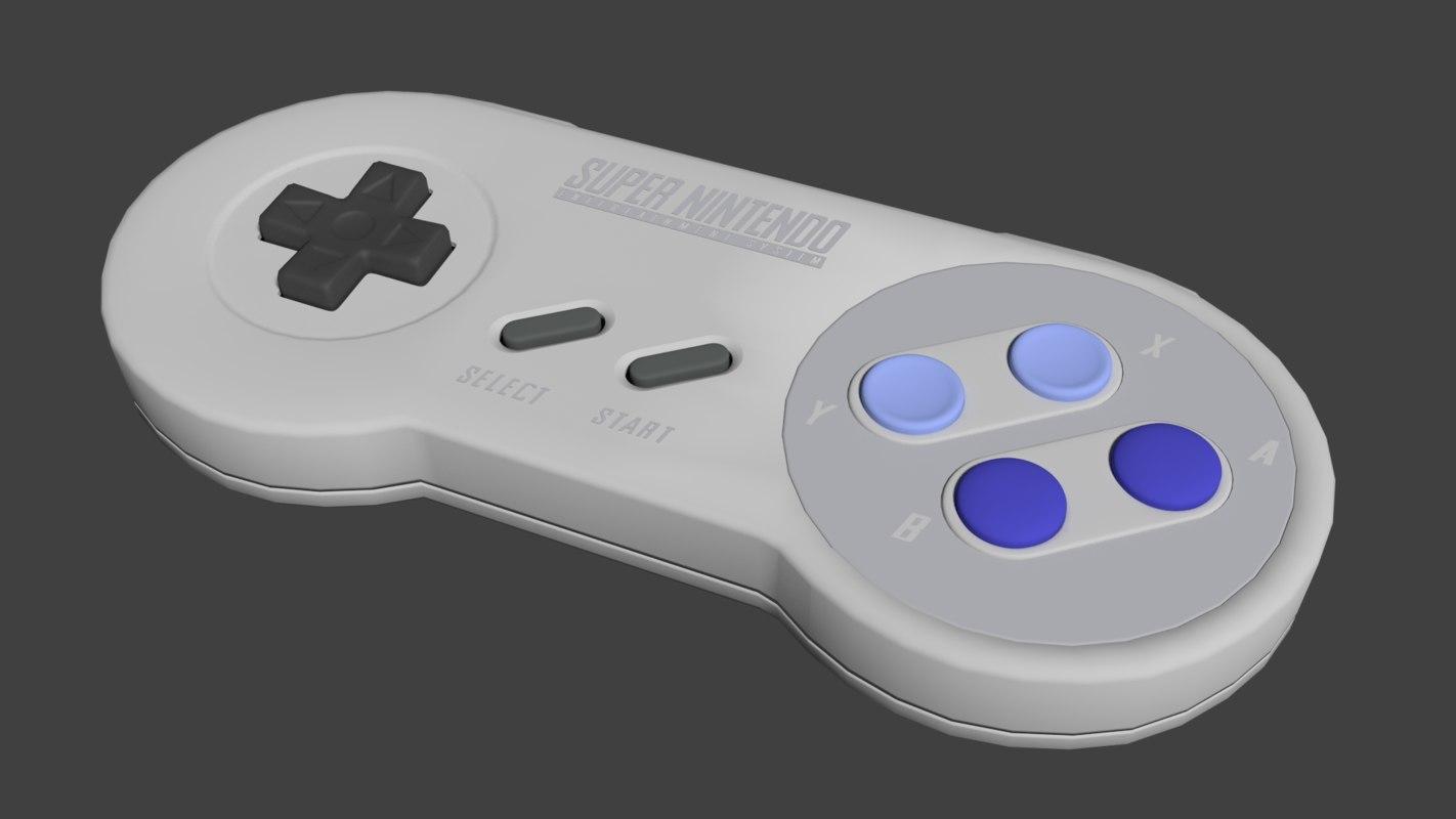 usa snes controller 3d model