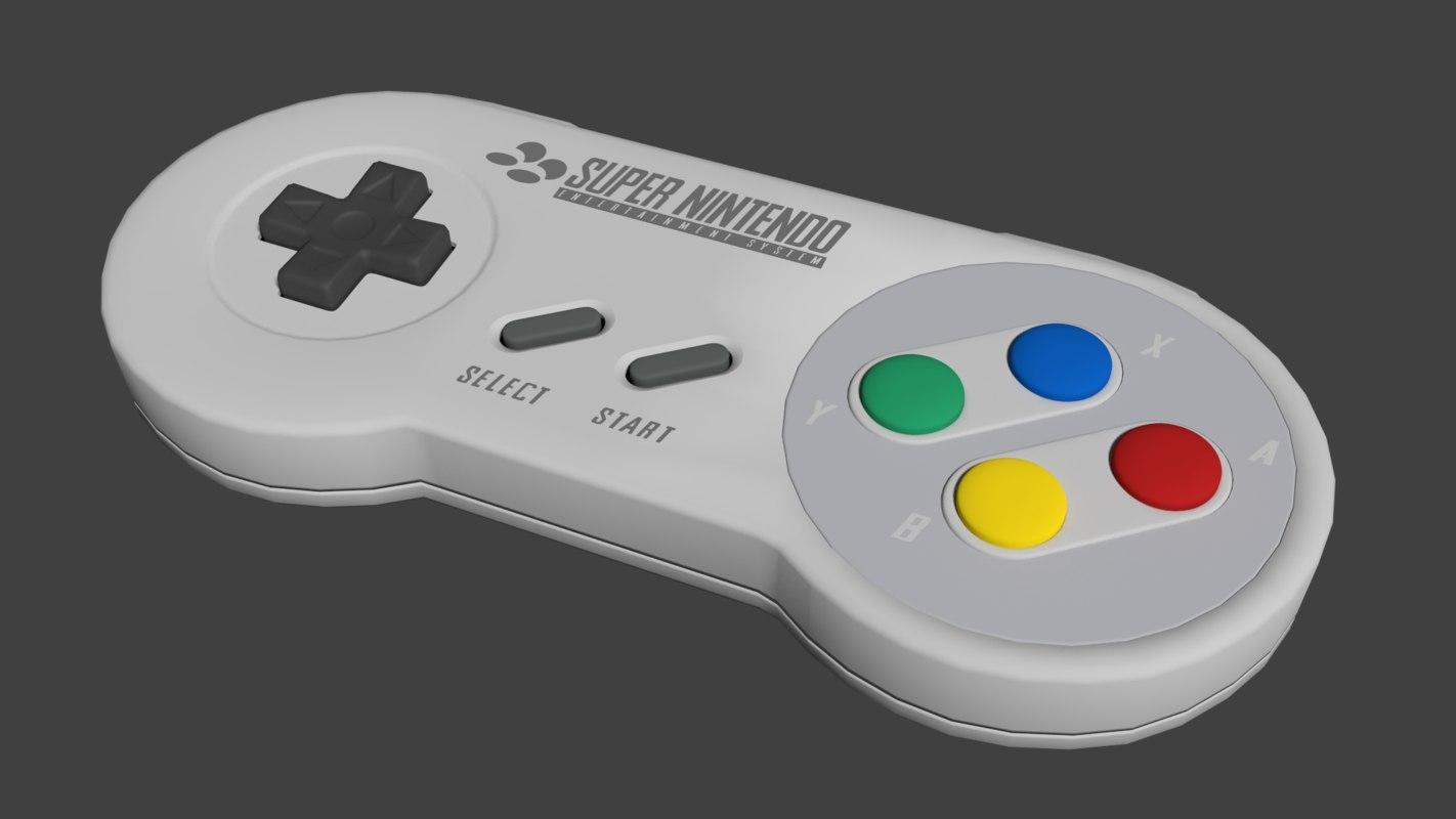pal snes controller 3d blend