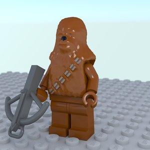 3d chewbacca lego model