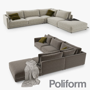 3d 3ds poliform bristol sofa