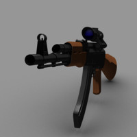 AK-47 with acog scope high poly