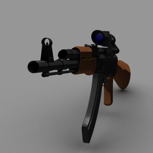 ak-47 acog scope 3d model
