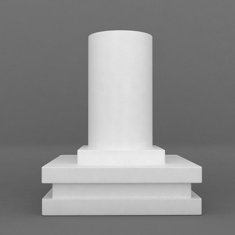 square base printable pedestal 3d model