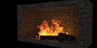 Stone Fireplace with burning fire