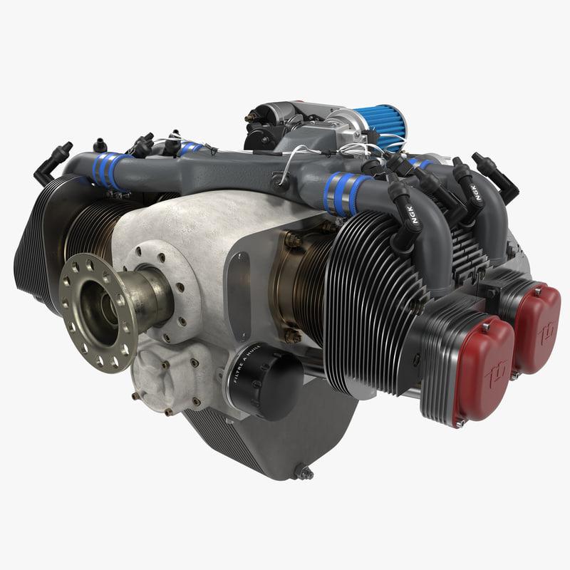 3ds max piston aircraft engine ulpower