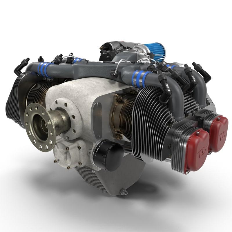 piston aircraft engine ulpower 3d model