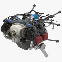 Piston Aircraft Engine ULPower UL260i 3D Model