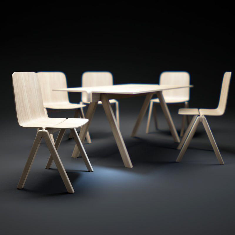 bouroullec-chair-and-table 3d model