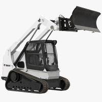 Compact Tracked Loader Bobcat With Blade Rigged 3D Model