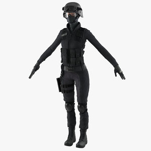 swat police officer woman 3d model