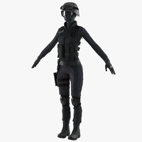 3d swat woman uniform modeled model