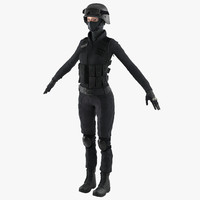 swat woman european 2 3d model