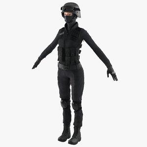 swat woman european 2 3d model