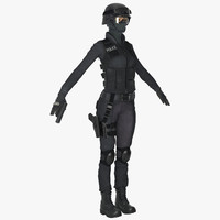 3d model asian swat woman
