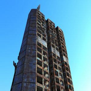 3d ruined sci fi building