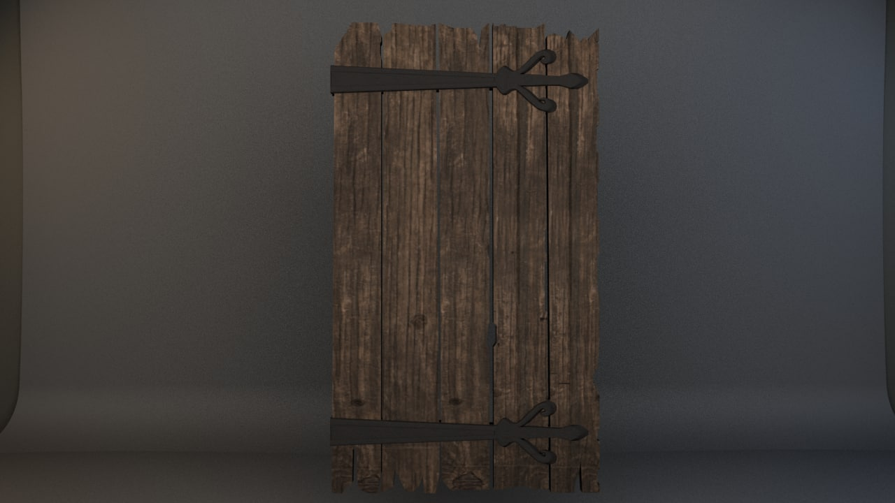 old worn door 3d fbx