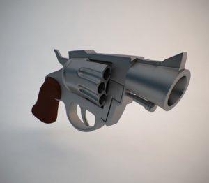 cartoon snub nose revolver 3d model