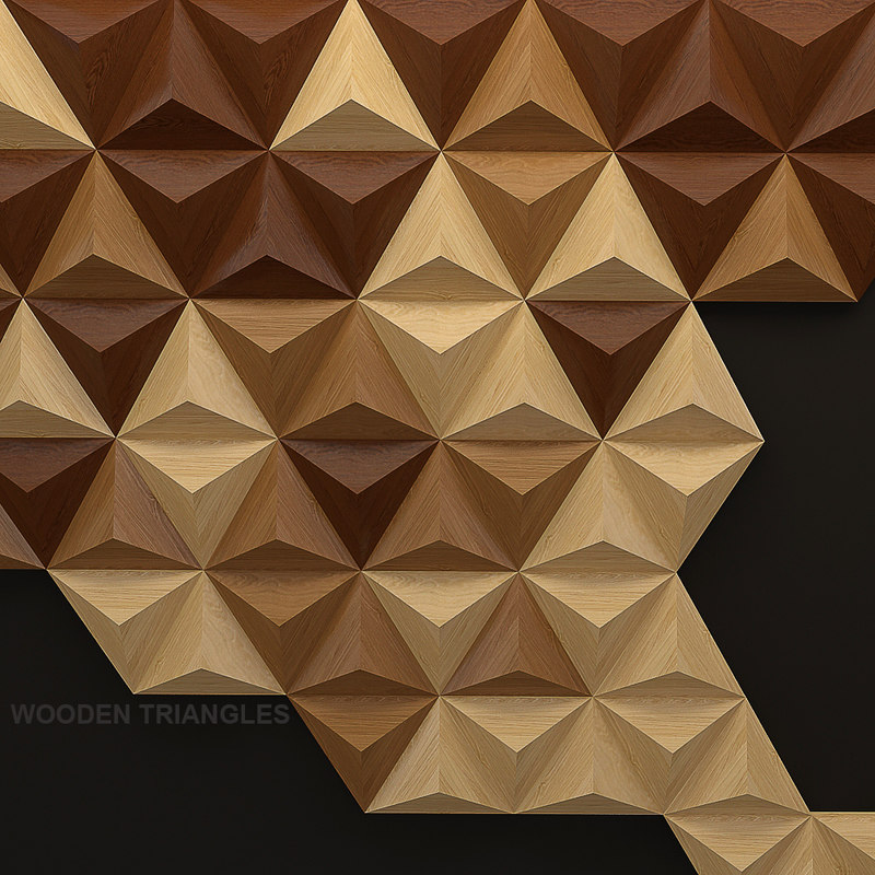 wooden triangles panel 3d model