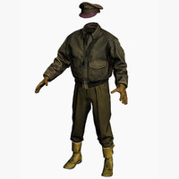 clothing ww2 pilot 3d model