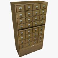 card catalog cabinet 3d model