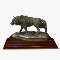 statuette bronze wolf 3d obj