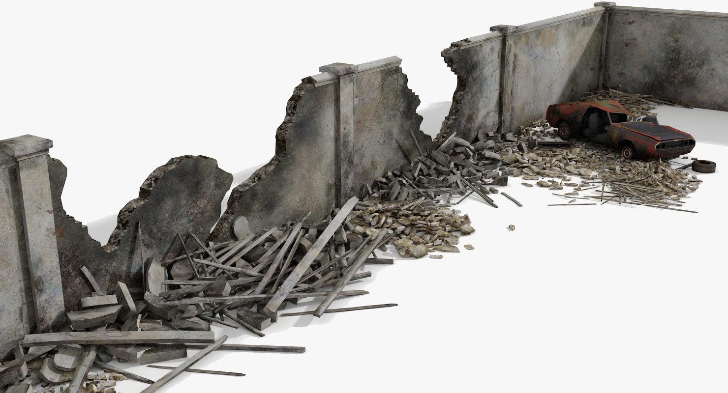 3dsmax destroyed wall debris ruined