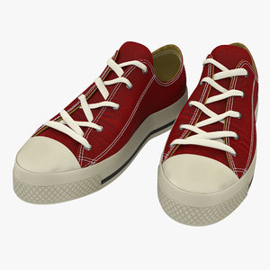 3d model sneakers red modeled