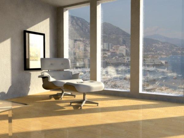 eames lounge ottoman 3d model