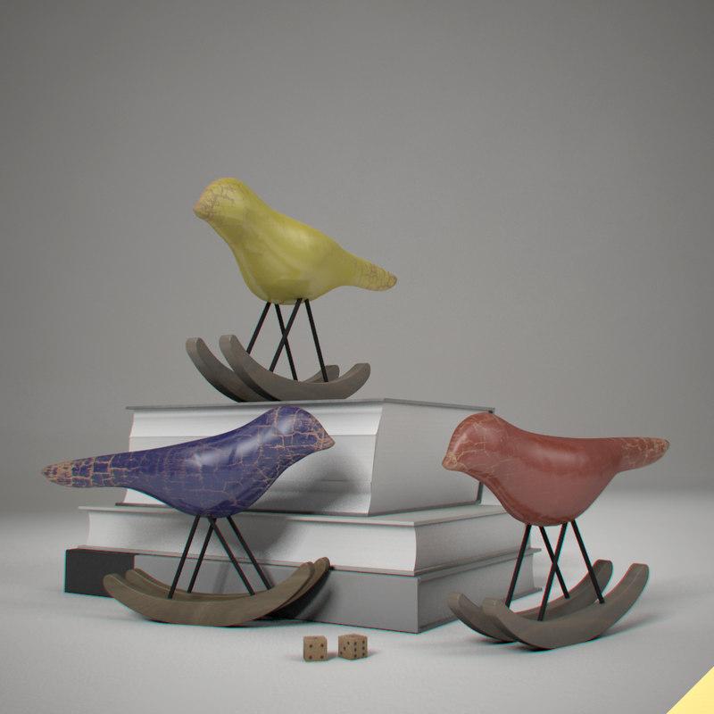 3d model birds books wood