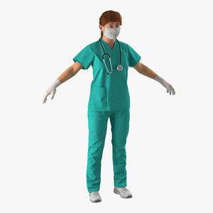 female caucasian surgeon blood 3d max