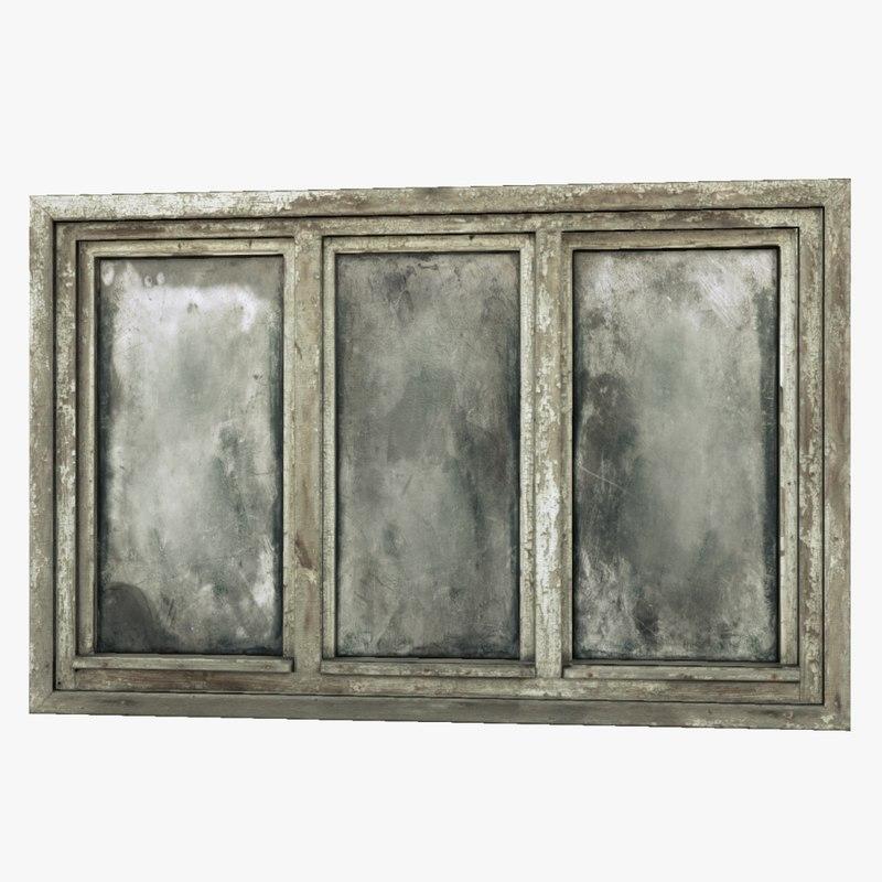 old wooden window 3d obj