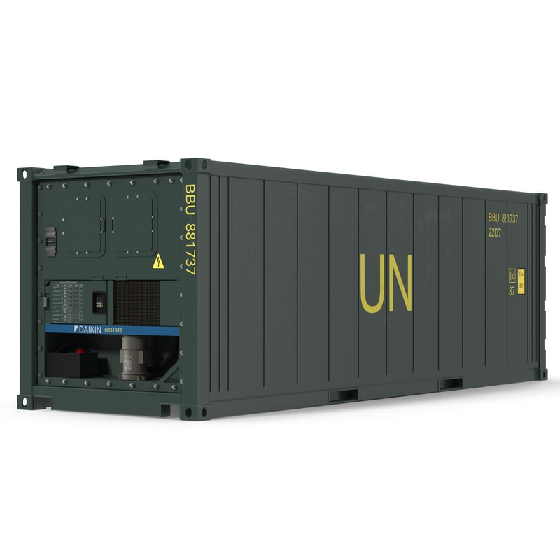 3d iso refrigerated container green model