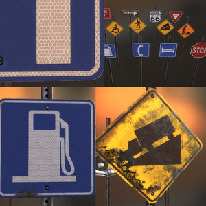 3d model dirty clean road signs