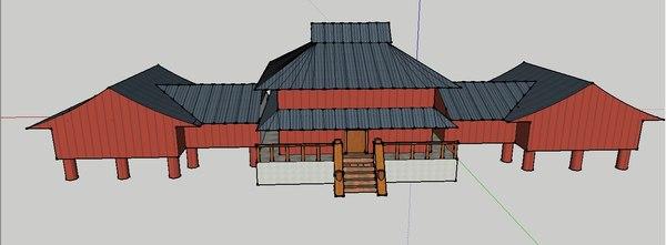 3d east asian house model