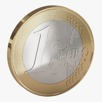 3d model of euro coin